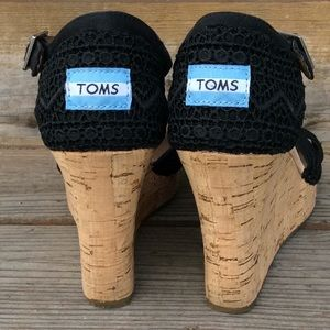 Toms Lace Cork Wedge Sandals 8